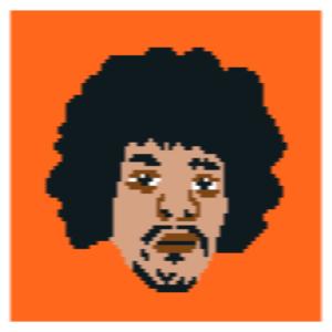Jimi Hendrix pixel art face socks